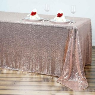Rose Blush Gold Sequin Tablecloth
