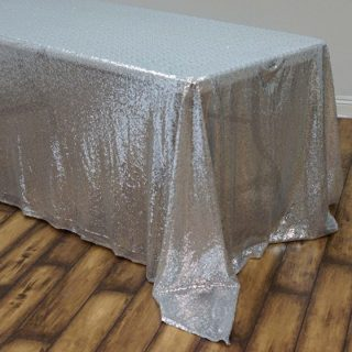 Silver Sequin Tablecloth Rental