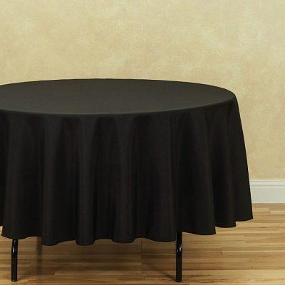 "90"" Round Black Tablecloth"