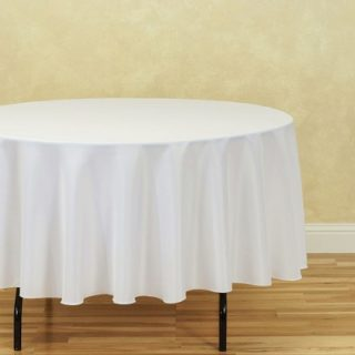 "90"" White Round Tablecloth"