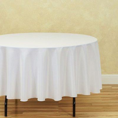 "90"" White Round Tablecloth"