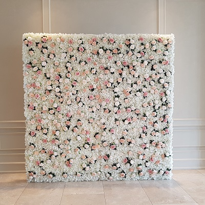 White & Blush Floral Wall Backdrop
