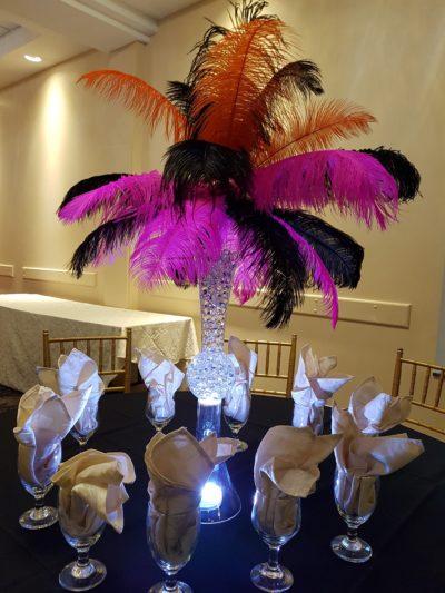 Multi Colored Feather Centerpiece Rental