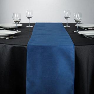Navy Blue Shantung Silk Table Runner