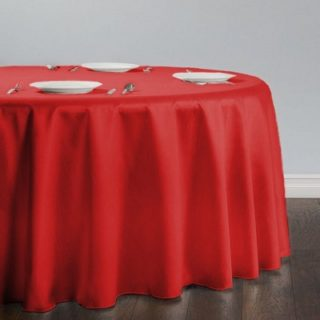 Red Shantung Silk Round Tablecloth