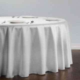 White Shantung Silk Tablecloth