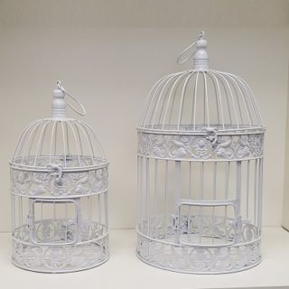Round White Metal Bird Cage Rental