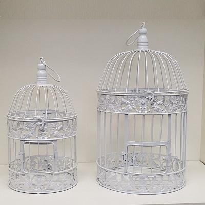 Round White Metal Bird Cage Rental