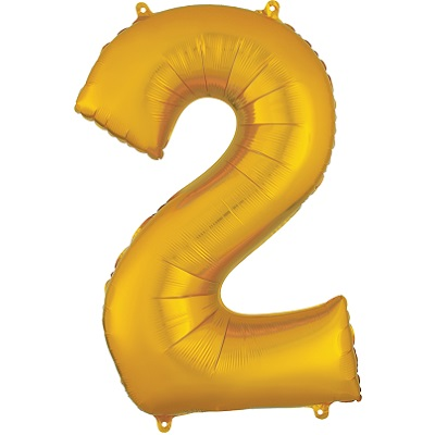Number 2 Gold Balloon