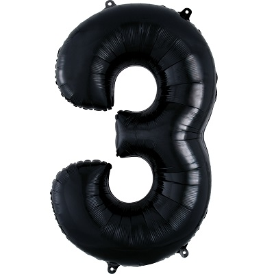 Number 3 Black Balloon