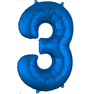 Number 3 Blue Balloon