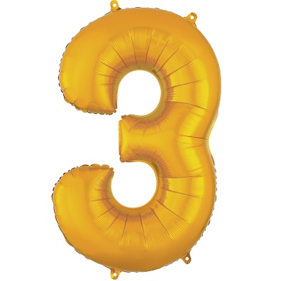 Number 3 Gold Balloon