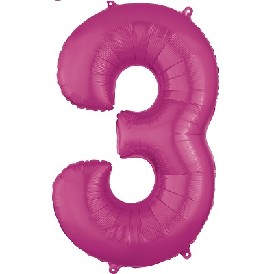 Number 3 Pink Balloon