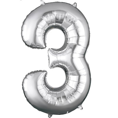Number 3 Silver Balloon