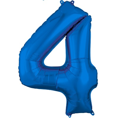 Number 4 Blue Balloon