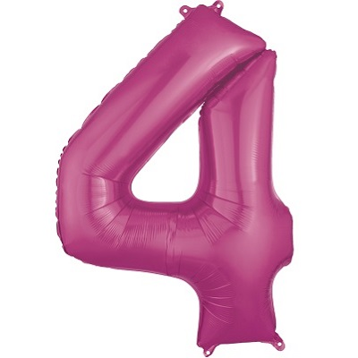 Number 4 Pink Balloon