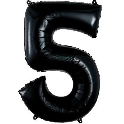 Number 5 Black Balloon
