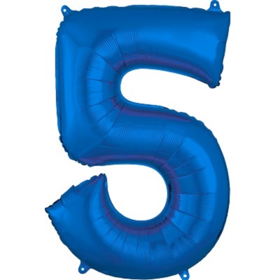Number 5 Blue Balloon