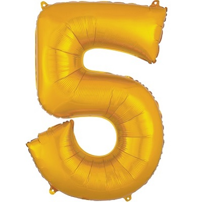 Number 5 Gold Balloon