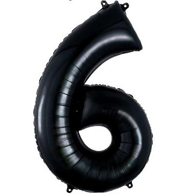 Number 6 Black Balloon