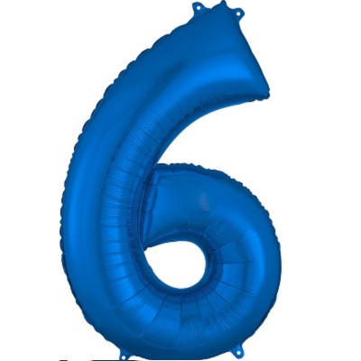 Number 6 Blue Balloon