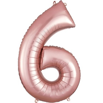 Number 6 Rose Gold Balloon