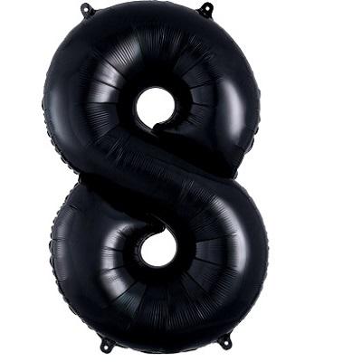 Number 8 Black Balloon