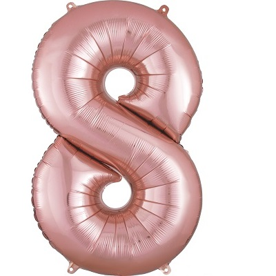 Number 8 Rose Gold Balloon