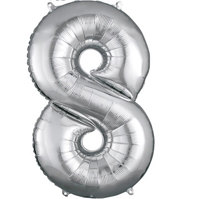 Number 8 Silver Balloon