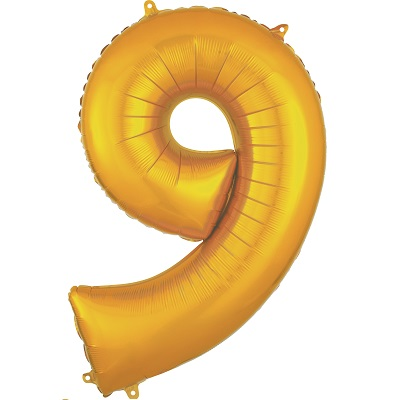 Number 9 Gold Balloon