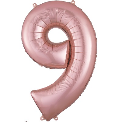 Number 9 Rose Gold Balloon