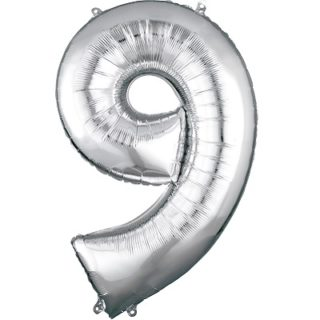Number 9 Silver Balloon